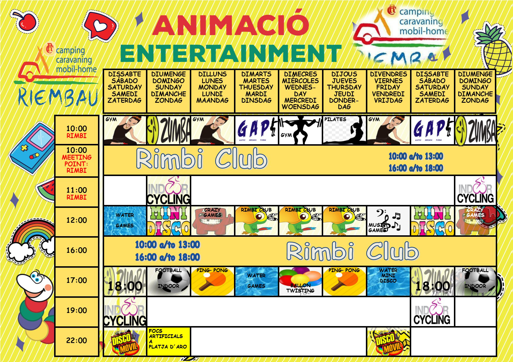Activities from 22th to 30th June May by the Rimbi Club at Camping Riembau in Platja d'Aro!