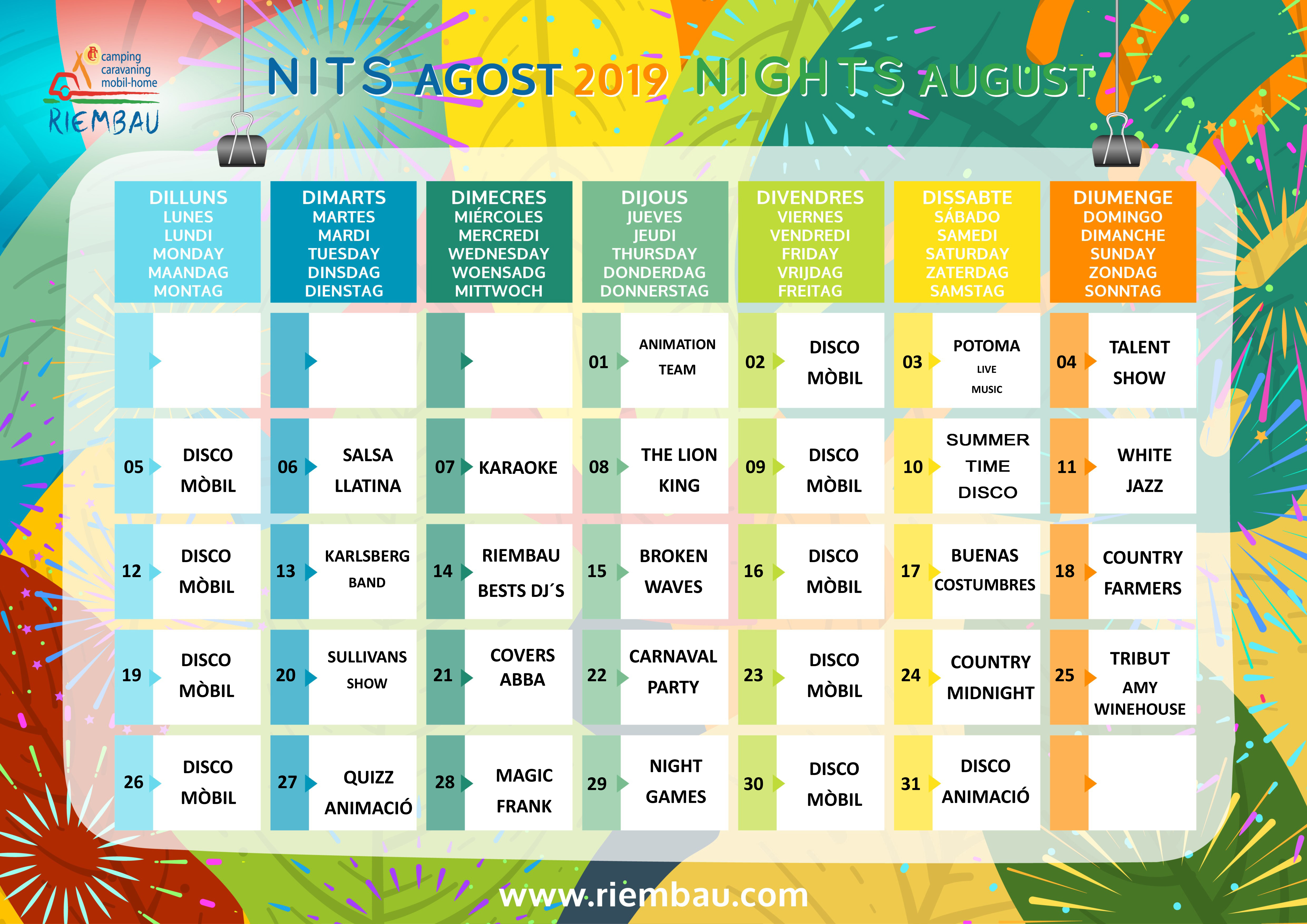 August Nigths at Camping Riembau in Platja d'Aro!