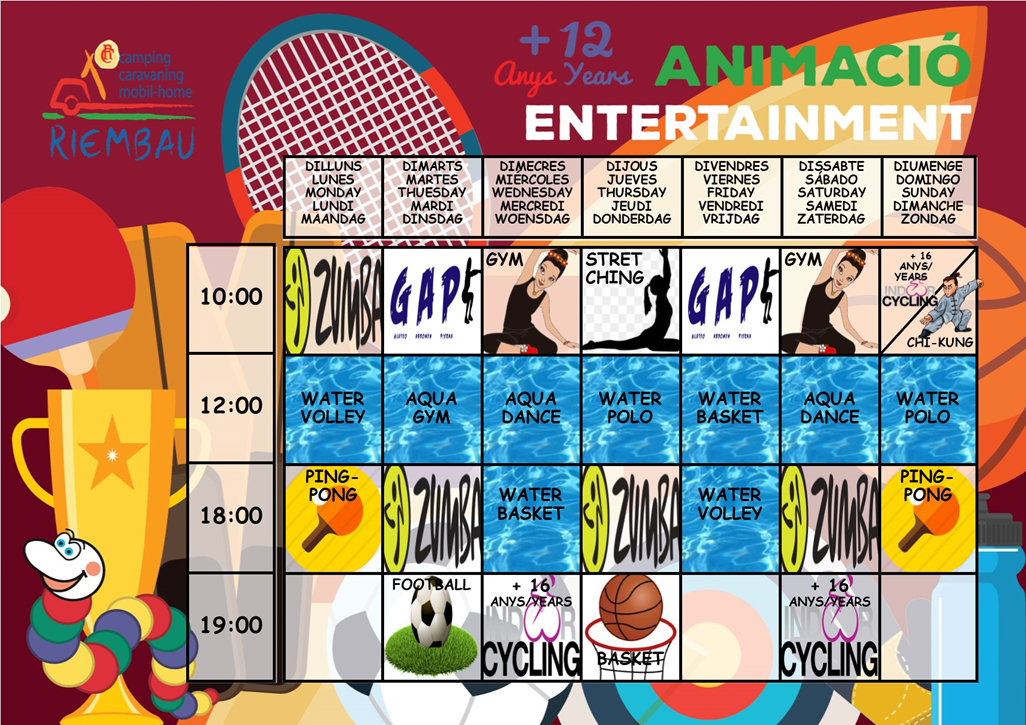 July Activities, for people more than 12 years at Camping Riembau in Platja d'Aro!