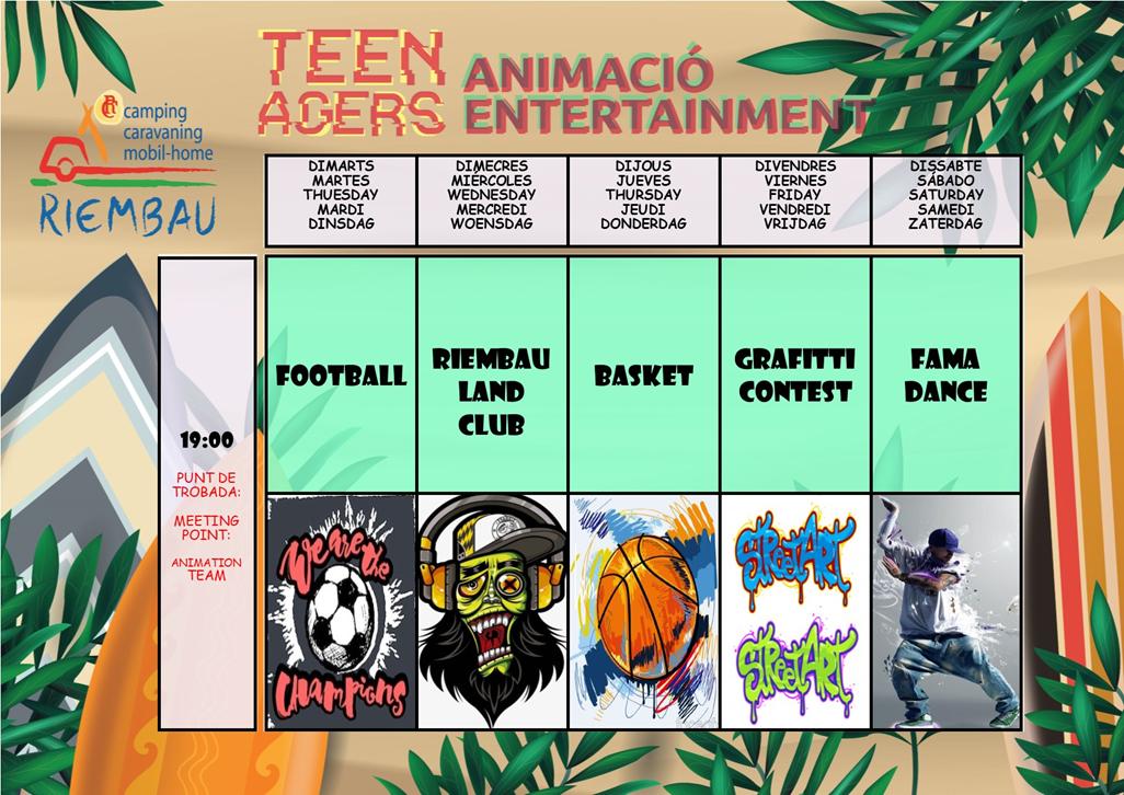 Juli Aktivitäten des teen agers auf Camping Riembau in Platja d'Aro!