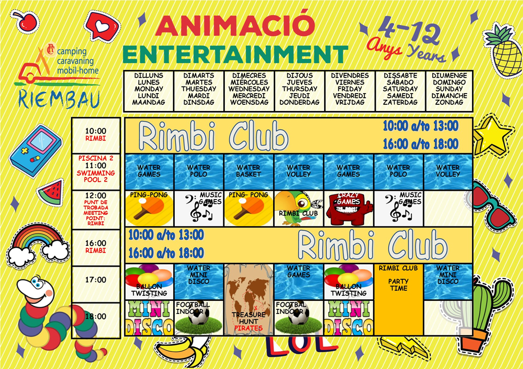 July Activities of the Rimbi Club at the Camping Riembau in Platja d'Aro!