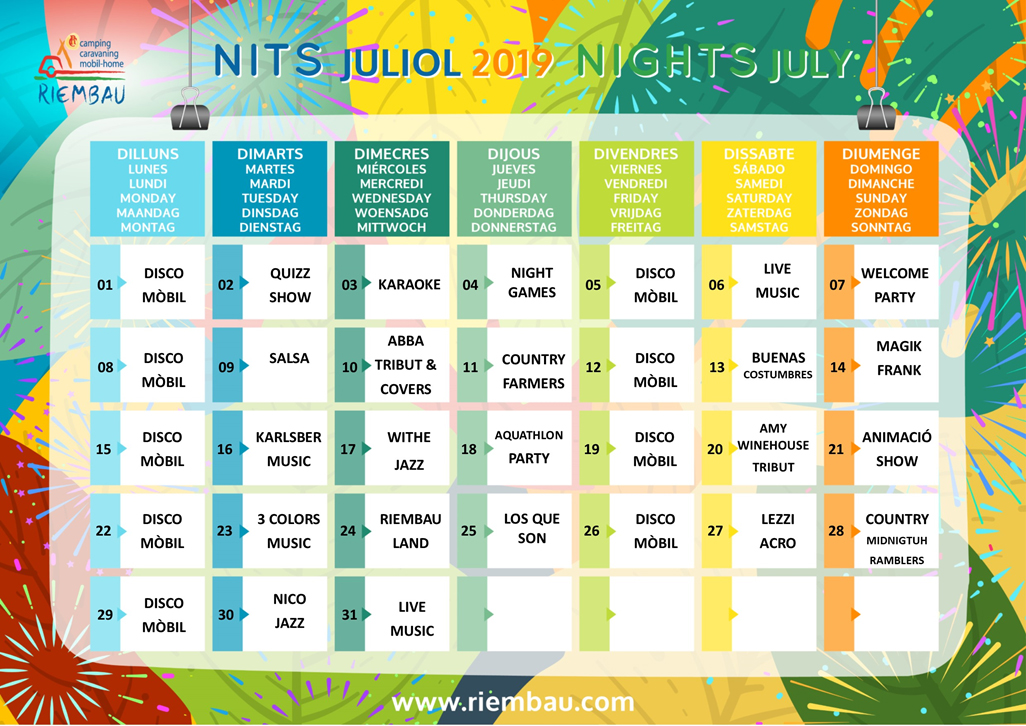 July Nigths at Camping Riembau in Platja d'Aro!